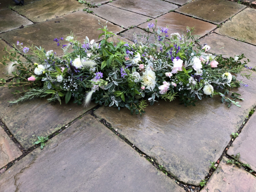 Seasonal British Funeral flowers - large double ended spray in York and Hull