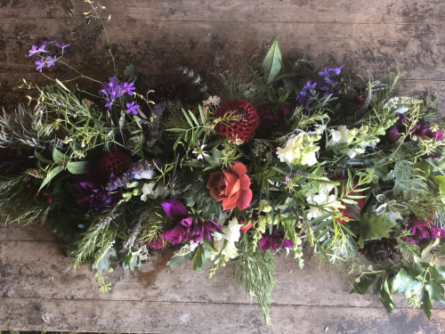 Seasonal September funeral flowers - double ended spray with Dahlias and Roses in York and Hull