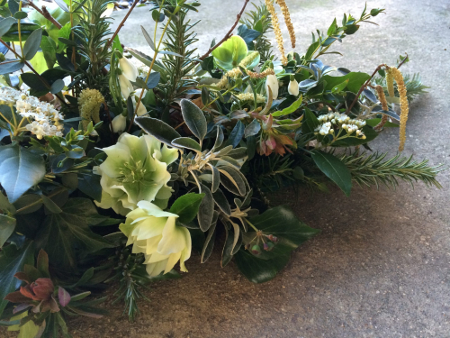 Seasonal British Detail of green funeral sheaf in York and Hull