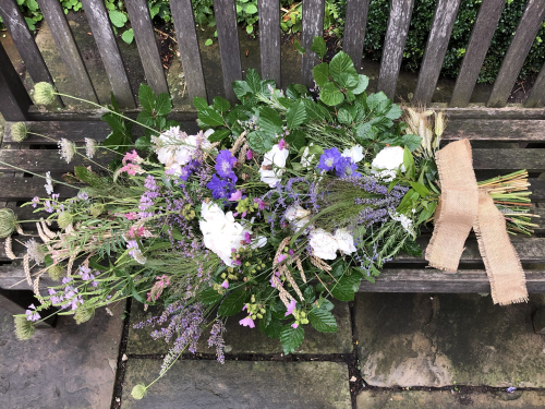 Seasonal British Large funeral sheaf of British hedgerow flowers in York and Hull
