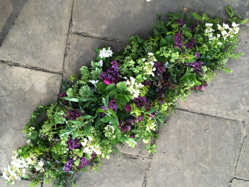 Seasonal British Double ended funeral flowers spray with Lilac in York and Hull