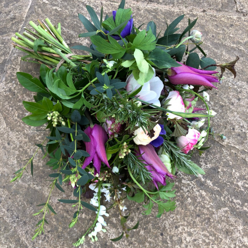 Seasonal Funeral sympathy bouquet of British flowers in York and Hull